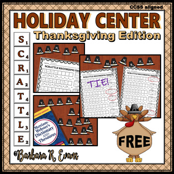 THANKSGIVING MATH and LITERACY CENTER SCRATTLE Differentiated Critical Thinking