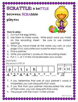 HOLIDAY MATH and LITERACY CENTER Spring SCRATTLE Differentiated