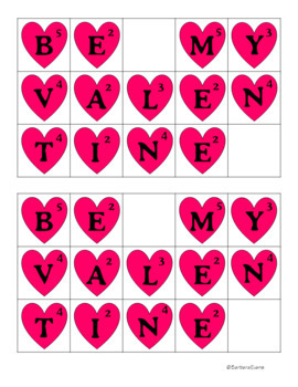 HOLIDAY MATH and LITERACY CENTER Valentine's Day SCRATTLE Differentiated