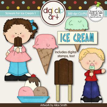 Scream For Ice Cream 1-  Digi Clip Art/Digital Stamps - CU Clip Art