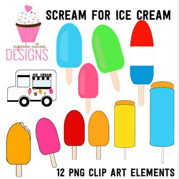 Scream For Ice Cream Digital Clip Art Set