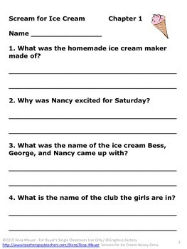 Scream for Ice Cream Nancy Drew Reading Comprehension