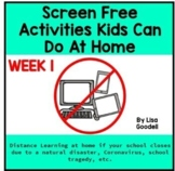 Screen Free Lesson Plans During School Closures WEEK 1 #di
