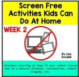 Screen Free Lesson Plans During School Closures WEEK 2 #di