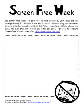 Screen Free Week Worksheet {FREE}