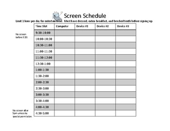 Screen Schedule