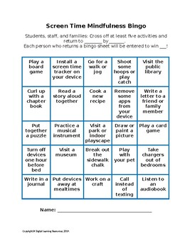 Screen Time Mindfulness Bingo