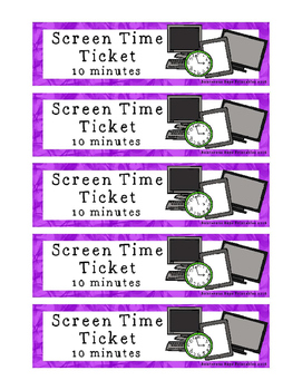 Screen Time Tickets - Computer TV Tablet with Earning Pocket Page