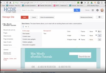 ScreenCast Video for Changing Background Images in Classic Google Sites