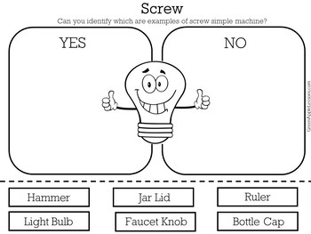 Screws Worksheet | Simple Machines Worksheet | Simple Machine Activity