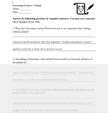 Screwtape Letters - Content and Vocab Quiz on Letters 1-3