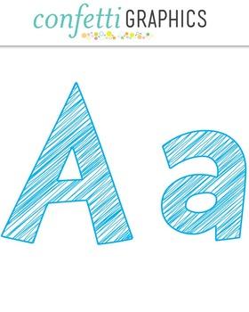 Alphabet Scribble Clip Art Blue 74 Upper & Lower Case Letters, Numbers, Symbols