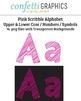 Alphabet Scribble Pink Clip Art 74 Upper & Lower Case Letters, Numbers, Symbols