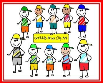 Scribble Boys Clip Art