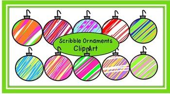 Scribble Christmas Ornaments Clip Art