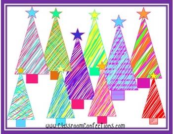 Scribble Christmas Trees Clip Art