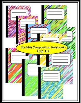Scribble Composition Notebooks Clip Art