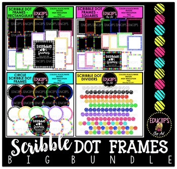 Scribble Dot Frames Big Bundle {Educlips Clipart}