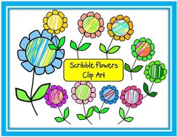 Scribble Flowers Clip Art