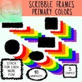 Scribble Frames, Doodle Labels Clipart Set - 5 Shapes, 40