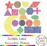 Scribble Frames Labels Clipart 2D Geometric Shapes