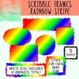 Scribble Frames Rainbow Stripe, Labels Clipart Set - 5 Sha