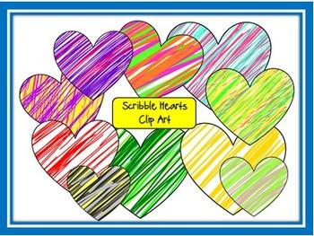Scribble Hearts Clip Art