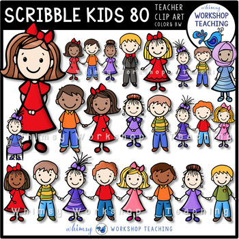 Scribble Kids 80 Pack Clip Art