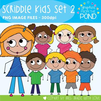 Scribble Kids Set 2 - Clipart for Teaching