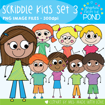 Scribble Kids Set 3 - Clipart for Teaching
