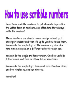 Scribble Number To Practice Number Writing