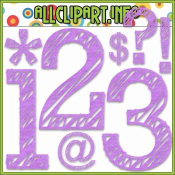 Scribble Numbers & Symbols (Purple)