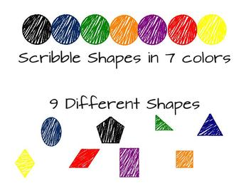 Scribble Shapes in Primary Colors