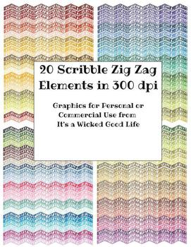 Scribble Zig Zag Clip Art for Personal and Commercial Use