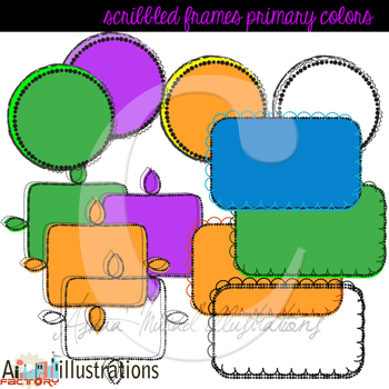 Scribbled and doodled fun frames in primary colors digital clipart