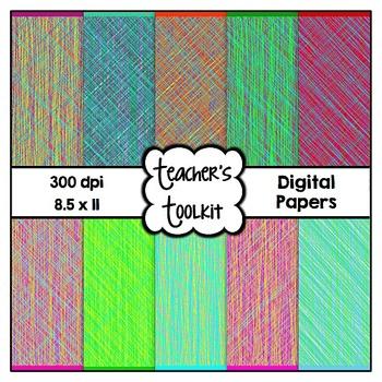 Scribbles Digital Background Papers {8.5 x 11} Clip Art CU OK