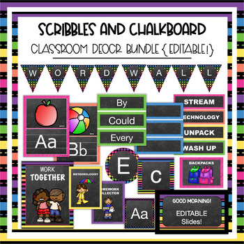 Scribbles and Chalkboard Classroom Theme Decor Bundle - Jobs, supplies, & MORE!