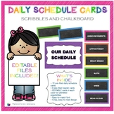 Scribbles and Chalkboard Daily Schedule Cards