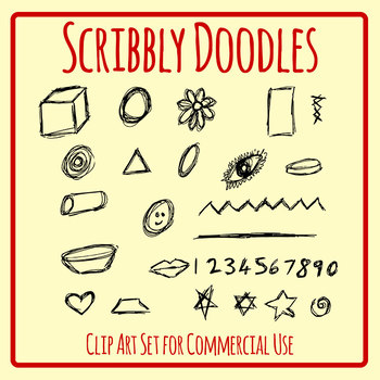 Scribbly Doodles Scribbles Clip Art Set for Commercial Use
