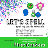 Scripps First Grade Spelling Words Printable (2018-2019)