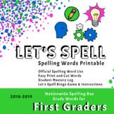 Scripps First Grade Spelling Words Printable (2018-2019)