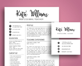Script 3 in 1 teacher resume template for MS PowerPoint, updated business cards