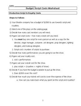 Script Cost Worksheet