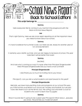 Script News Report The Back To School Edition 3rd 4th