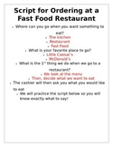 Script for Ordering at a Fast Food Restaurant