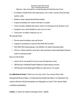 Script for lesson plan on American Education