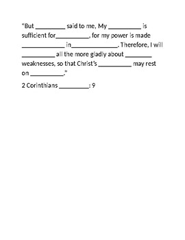Scripture Fill in the Blank Quiz