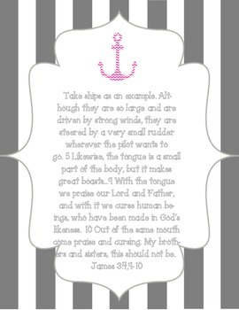 """Bible Scripture Memory Cards, """"Anchor"""" Themed"""