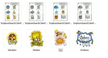 Scripture Search Worksheets and 4 Color Christian Clip-Art