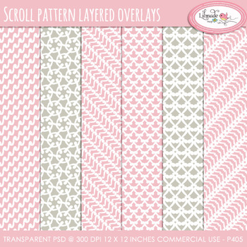 Scroll pattern overlays, paper templates, PSD layered templates